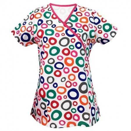 Bluza medicala cu bulinute colorate  - 1