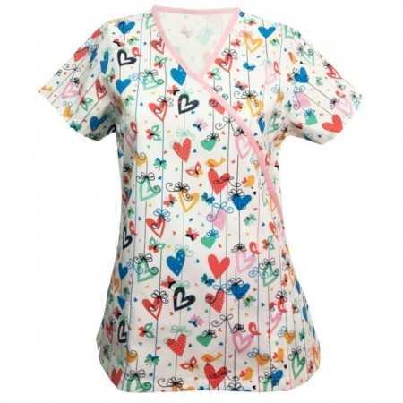 Bluza medicala cu inimioare colorate  - 1