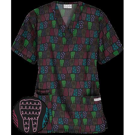 Bluza medicala cu imprimeu dinti colorati  - 1