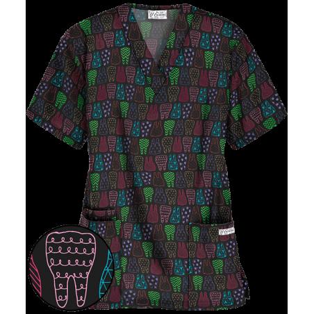 Bluza medicala cu imprimeu dinti colorati