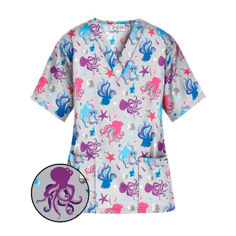 Bluza medicala cu imprimeu caracatite colorate  - 1