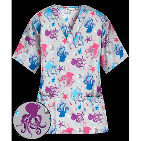 Bluza medicala cu imprimeu caracatite colorate
