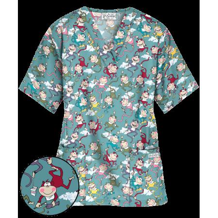 Bluza medicala cu imprimeu maimute  - 1