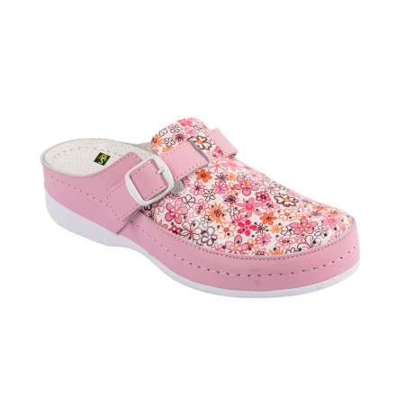 Saboti medicali dama V10 roz cu floricele  - 1