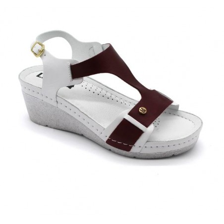 Sandale ortopedice, dama, alb/bordo